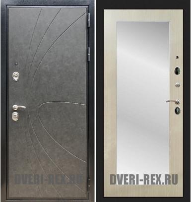 Стальная дверь Рекс Премиум 248 / Пастораль с зеркалом (Беленый дуб)