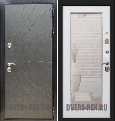 Стальная дверь Рекс Премиум 248 / Пастораль с зеркалом (Белый ясень)