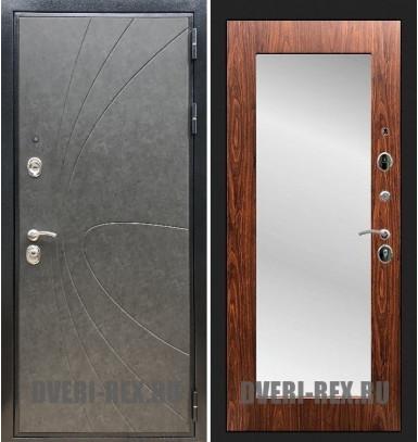 Стальная дверь Рекс Премиум 248 / Пастораль с зеркалом (Береза мореная)