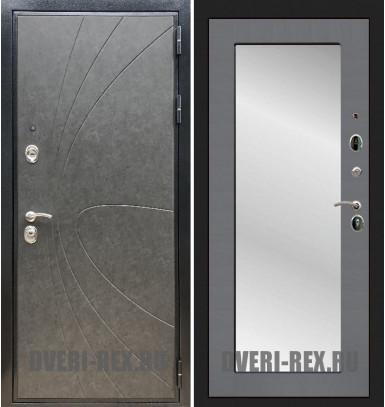 Стальная дверь Рекс Премиум 248 / Пастораль с зеркалом (Графит софт)