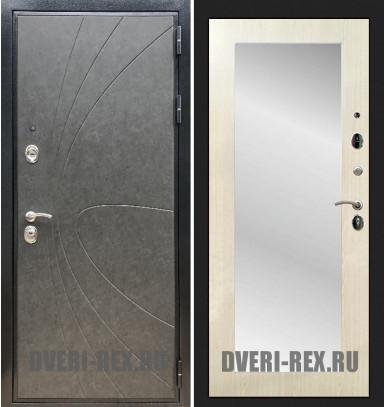 Стальная дверь Рекс Премиум 248 / Пастораль с зеркалом (Лиственница беж)