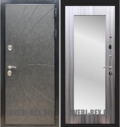 Стальная дверь Рекс Премиум 248 / Пастораль с зеркалом (Сандал серый)