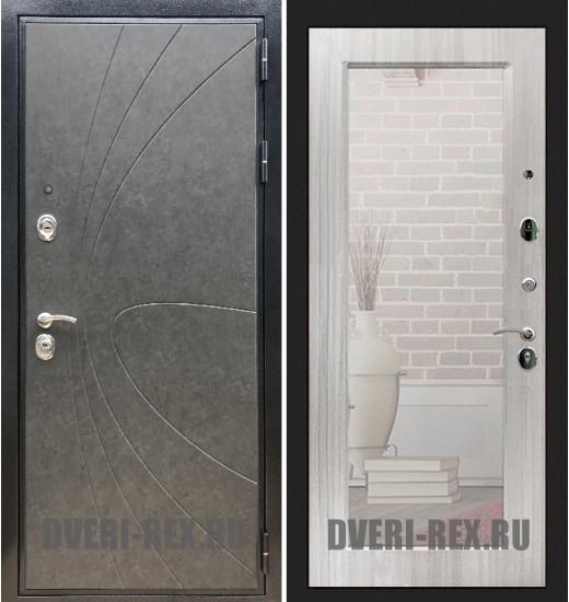 Стальная дверь Рекс Премиум 248 / Пастораль с зеркалом (Сандал белый)