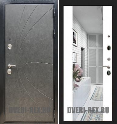 Стальная дверь Рекс Премиум 248 / СБ-16 с зеркалом (Белый софт)