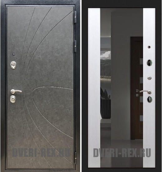 Стальная дверь Рекс Премиум 248 / СБ-16 с зеркалом (Белый ясень)