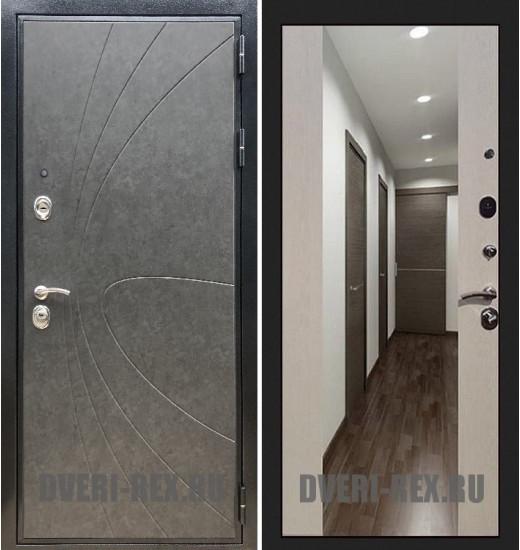 Стальная дверь Рекс Премиум 248 / СБ-16 с зеркалом (Лиственница беж)