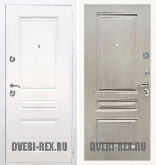 Стальная дверь Рекс Премиум H (Силк сноу) / ФЛ-243 (Беленый дуб)