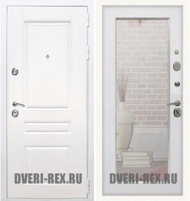 Стальная дверь Рекс Премиум H (Силк сноу) / Пастораль с зеркалом (Белый ясень)