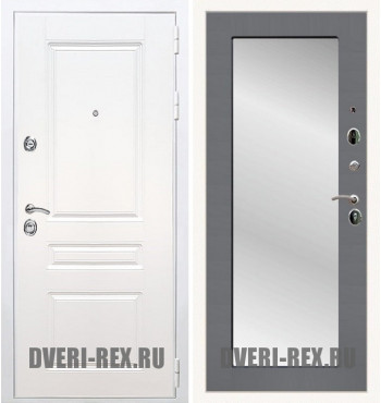 Стальная дверь Рекс Премиум H (Силк сноу) / Пастораль с зеркалом (Графит софт)