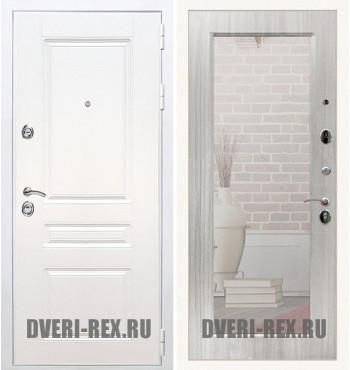 Стальная дверь Рекс Премиум H (Силк сноу) / Пастораль с зеркалом (Сандал белый)