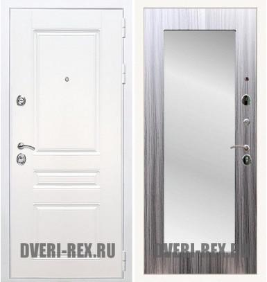 Стальная дверь Рекс Премиум H (Силк сноу) / Пастораль с зеркалом (Сандал серый)