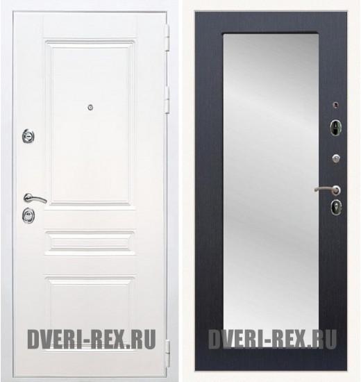 Стальная дверь Рекс Премиум H (Силк сноу) / Пастораль с зеркалом (Венге)