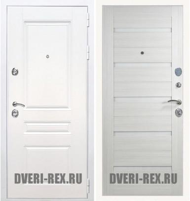 Стальная дверь Рекс Премиум H (Силк сноу) / СБ-14 (Лиственница беж)