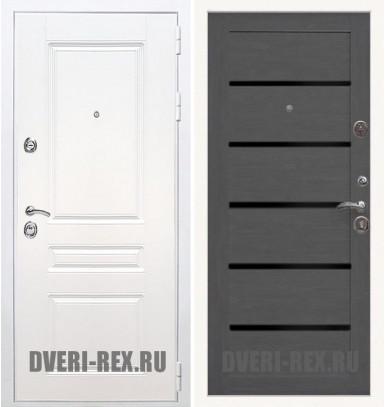 Стальная дверь Рекс Премиум H (Силк сноу) / СБ-14 (Лиственница серая)