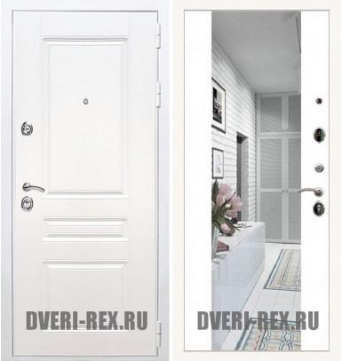 Стальная дверь Рекс Премиум H (Силк сноу) / СБ-16 с зеркалом (Белый софт)