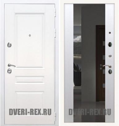 Стальная дверь Рекс Премиум H (Силк сноу) / СБ-16 с зеркалом (Белый ясень)