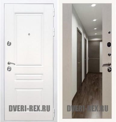 Стальная дверь Рекс Премиум H (Силк сноу) / СБ-16 с зеркалом (Лиственница беж)