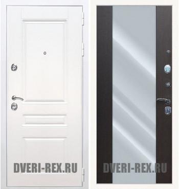 Стальная дверь Рекс Премиум H (Силк сноу) / СБ-16 с зеркалом (Венге)